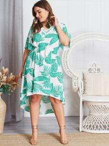 Plus Tassel Dip Hem Palm Tree Print Dress