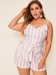 Plus Striped Self Tie Cami Romper