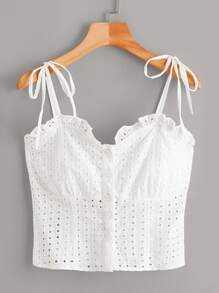 Plus Eyelet Embroidery Knot Frill Cami Top