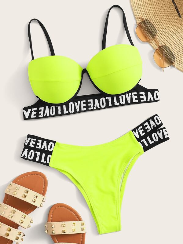 Et Imprimé Avec Lettres Fluo Armature Bikini AL35R4j