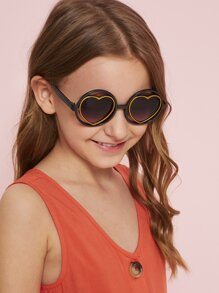 d3a32b2cab31 Toddler Kids Round Frame Heart Shaped Lens Sunglasses | SHEIN IN