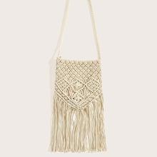 Fringe Hem Crochet Crossbody Bag