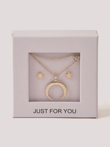 Moon Necklace 1pc & Star Earring 1pair