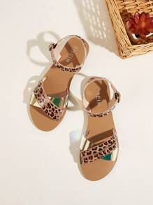 Leopard Pattern Buckle Strap Sandals