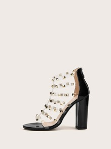 Studded Decor Clear Strappy Chunky Heels
