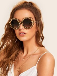 Rhinestone Decor Round Frame Sunglasses