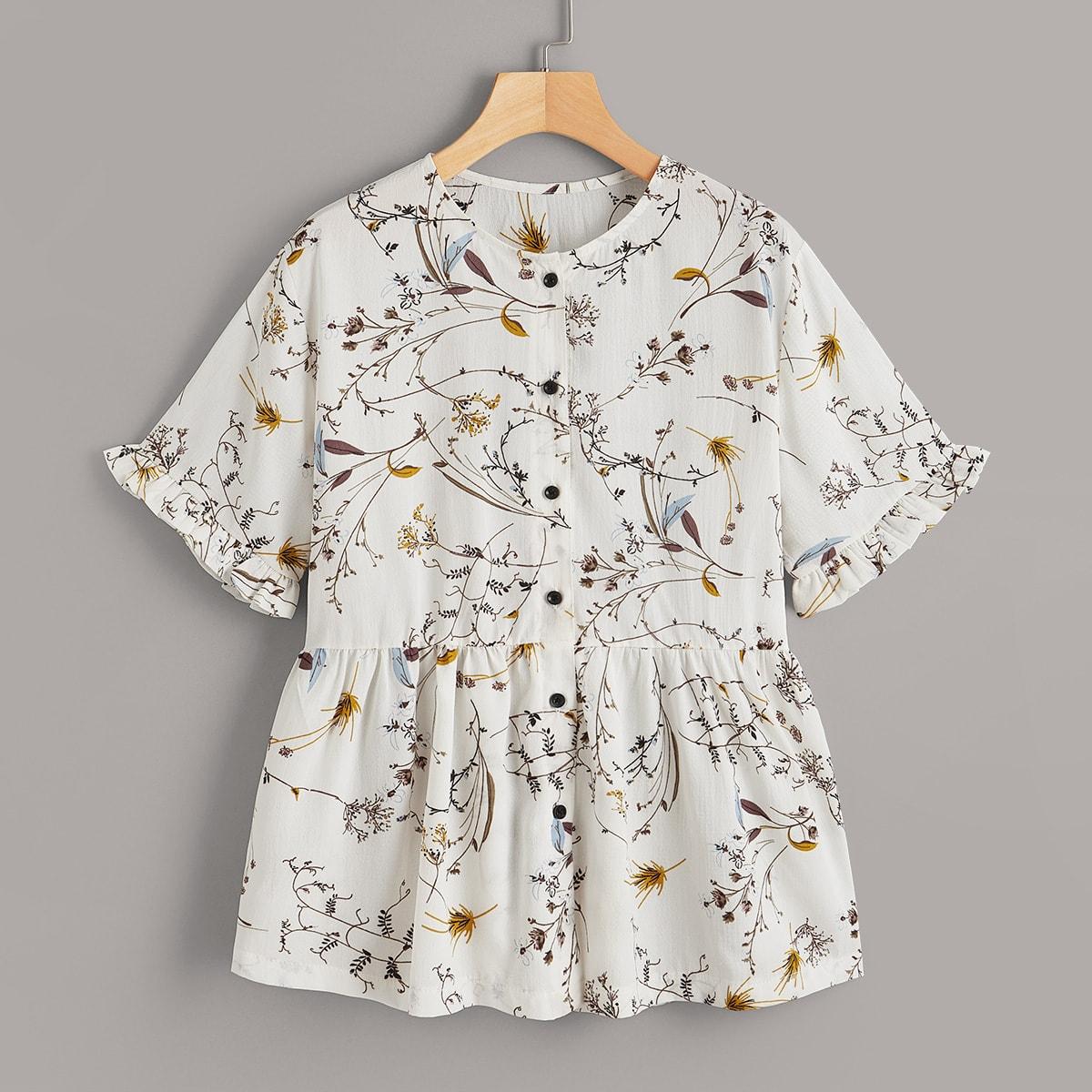 Блуза С Застежкой Спереди И Оборками Цветочный  Принт