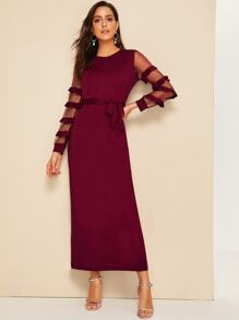 Contrast Mesh Ruffle Sleeve Dress