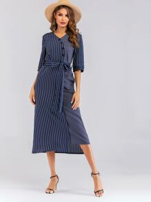Contrast Striped Belted Dress