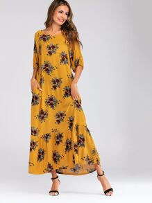 Floral Print Flounce Hem Dress