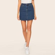 Slant Pocket Bodycon Denim Skirts