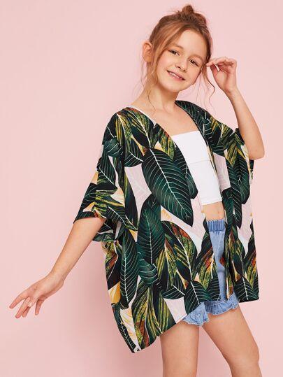 3694a9a407e Girls Open Front Jungle Leaf Print Kimono