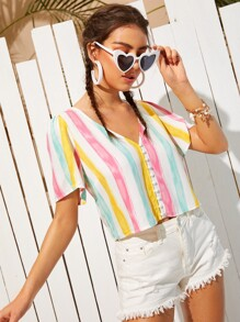 Button Front Colorful Striped Blouse