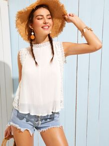 Solid Guipure Lace Back Blouse