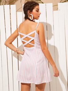 Criss Cross Back Striped Cami Tea Dress