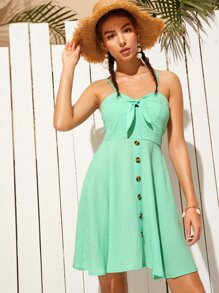 Knot Shirred Back Cami Dress
