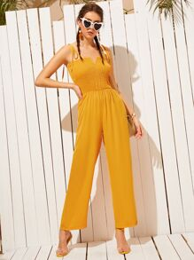 Shirred Knot Cami Jumpsuit