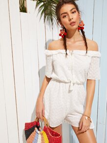 Schiffy Tie Neck Off The Shoulder Playsuit