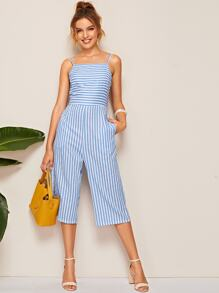 Striped Tie Back Cami Jumpsuit