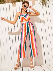 Colorful Striped Self Tie Strap Jumpsuit