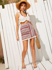 Striped Zip Side Skirt