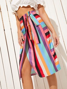 Colorful Striped Wrap Skirt