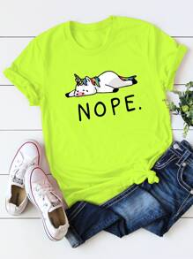 Neon Green Letter And Animal Print Tee