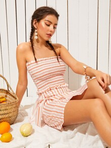 Lettuce Trim Striped Shirred Tube Top With Wrap Skirt