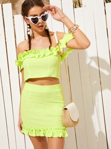 Neon Lime Shirred Side Top With Skirt