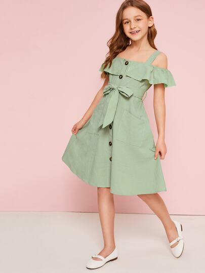 Girls Ruffle Cold Shoulder Button Up Belted Dress
