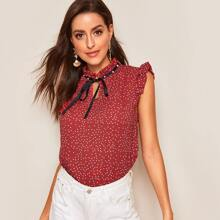 Pearls Tie Neck Frill Neck & Shoulder Dot Blouse