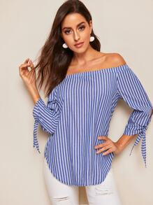 Off Shoulder Knotted Striped Top