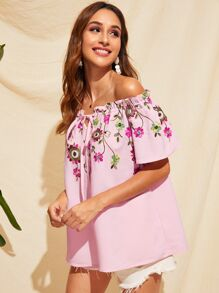 Off Shoulder Frilled Trim Flower Embroidered Blouse