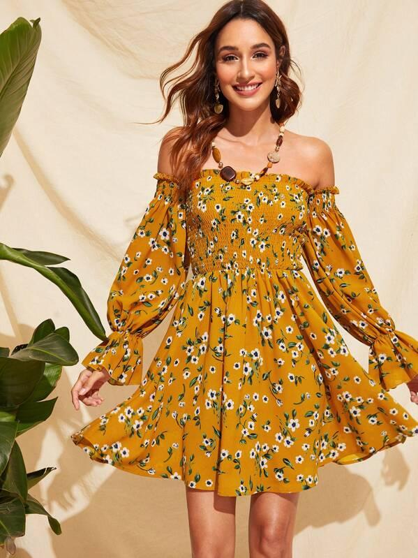 ea2eba77073e Puff Sleeve Shirred Bodice Floral Off Shoulder Dress | SHEIN