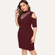 Plus Mesh Insert Cold Shoulder Bodycon Dress