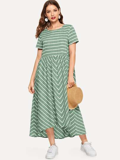 Dip Hem Striped Smock Dress