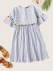 Colorful Pompom Detail Striped Smock Dress
