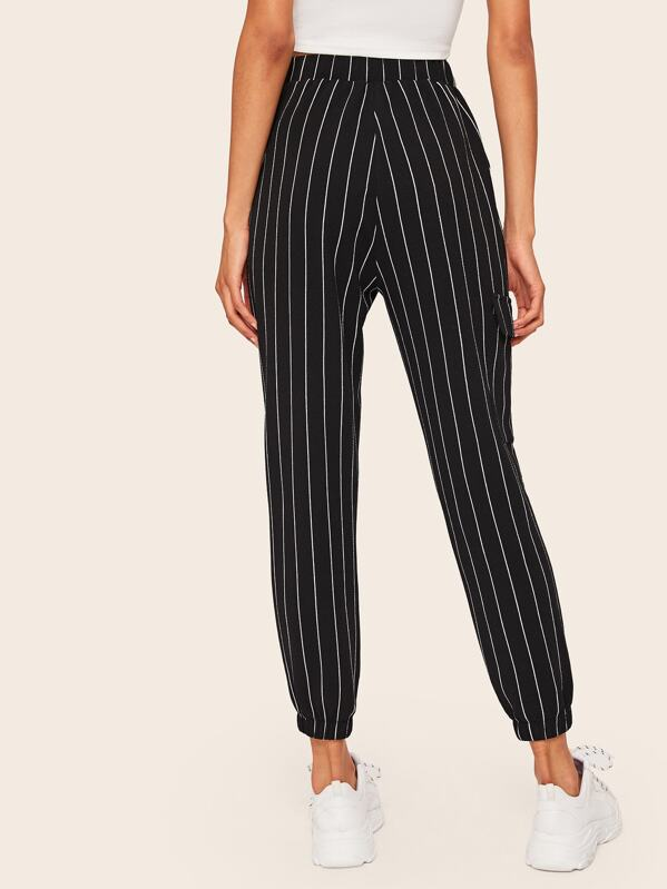 5d072e9391 Slant Pocket Vertical Striped Crop Trousers | SHEIN UK