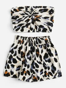 Plus Leopard Print Twist Tube Top With Shorts