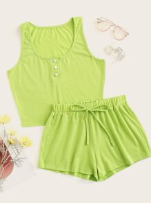 Neon Lime Button Front Tank Top & Shorts PJ Set