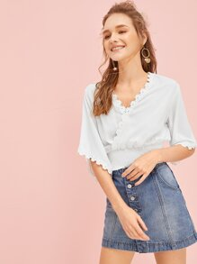 V-neck Shirred Solid Blouse