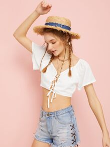 Lace-up Solid Crop Blouse