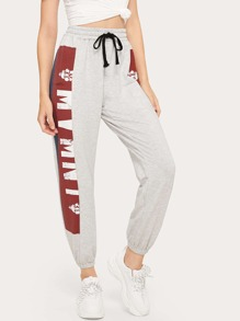 Graphic Print Drawstring Waist Pants