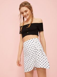 Polka Dot Print Lace-up Skirt