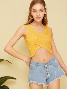 Crossover Solid Knit Top