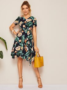 Tropical Print Self Tie Dress