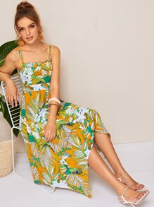 Tropical Print Shirred Hanky Hem Cami Dress