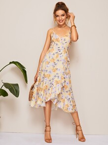 Floral Print Flounce Trim Wrap Cami Dress