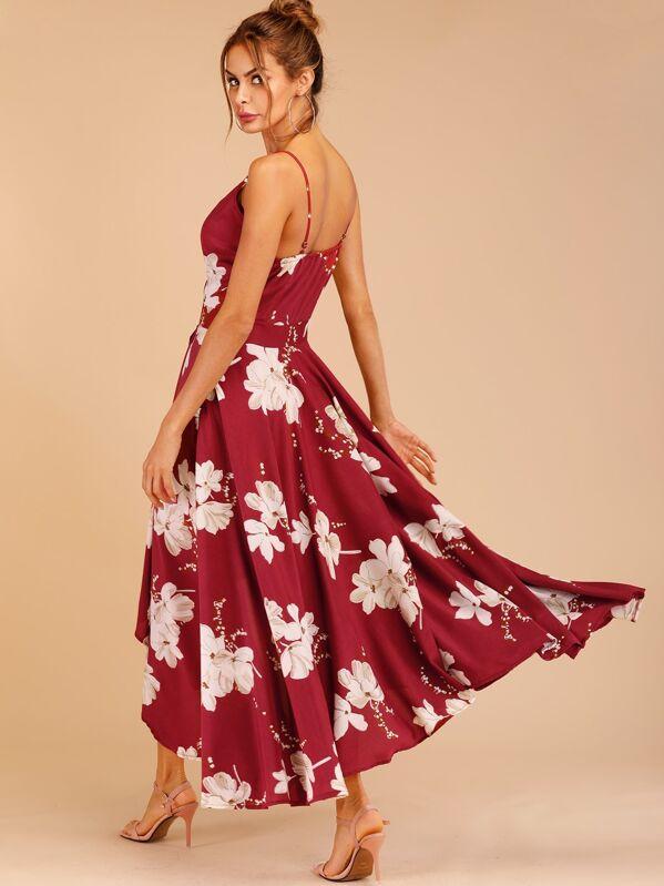 07d4375bb83 Floral Print Tulip Hem Surplice Cami Dress