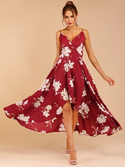 cca82d2b1f356 Robe cache-cœur à fines brides avec imprimé floral